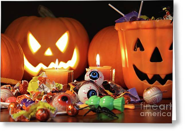 Closeup Of Candies With Pumpkins  Greeting Card by Sandra Cunningham
