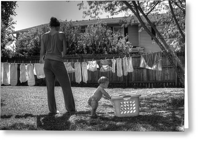 Cloth Diapers On The Line Greeting Card by Justin Ellis