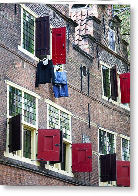 Clothes Hanging From A Window In Kattengat Greeting Card