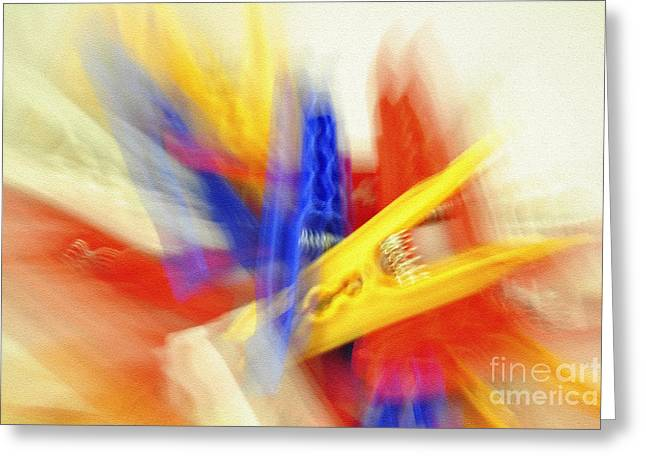 Clothes Peg Abstraction Greeting Card by Martin Dzurjanik