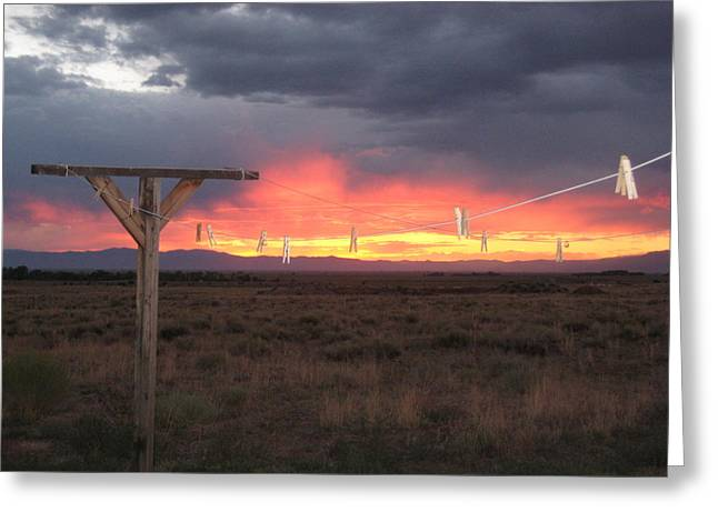 Clothesline Sunset Greeting Card by Sharon Farris