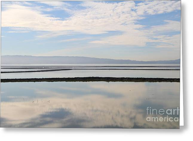 Cloud Reflections On Salt Marsh At Coyote Hills Regional Preserve California . 7d10968 Greeting Card by Wingsdomain Art and Photography