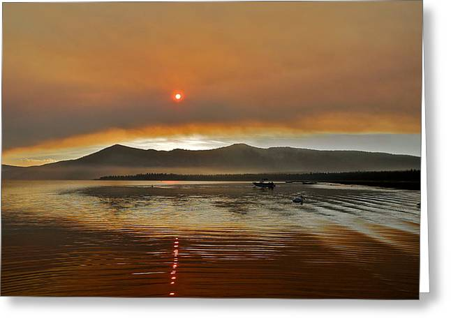 Clouds And Sun In A Smoky Sky Greeting Card