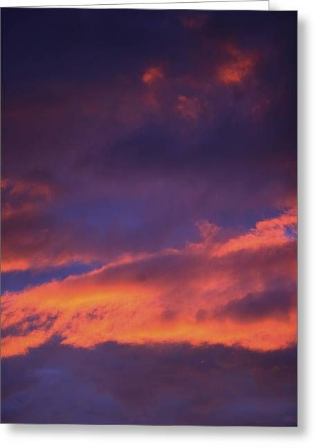 Clouds In Sky With Pink Glow Greeting Card