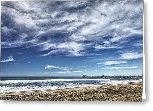 Clouds Over Imperial Beach Pier Greeting Card