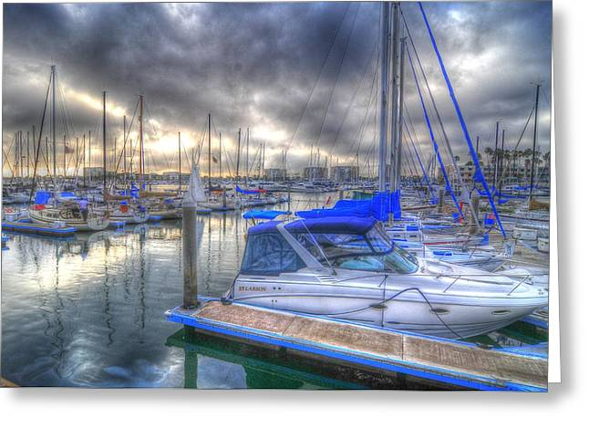 Clouds Over Marina Greeting Card