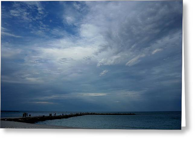 Clouds Over The Jetty Greeting Card by Grace Dillon