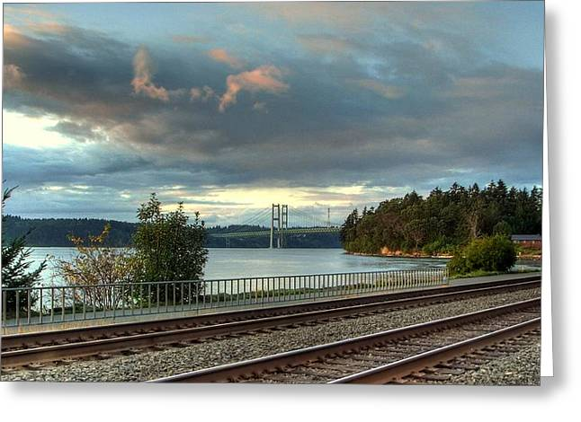 Clouds Over The Narrows Greeting Card by Chris Anderson