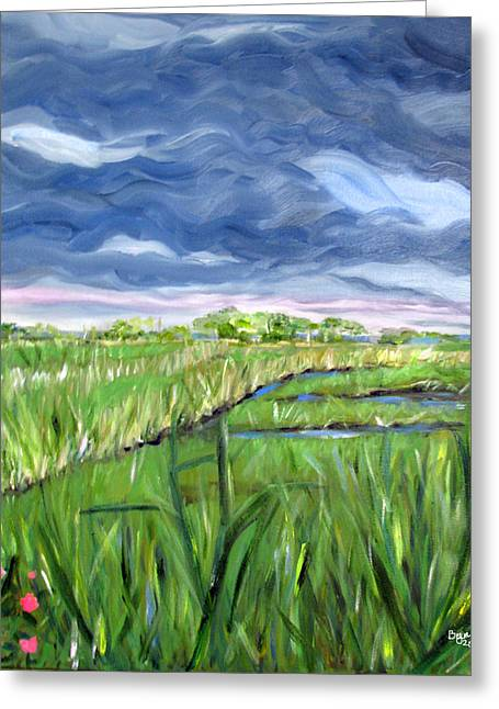 Cloudy Marsh Greeting Card by Clara Sue Beym