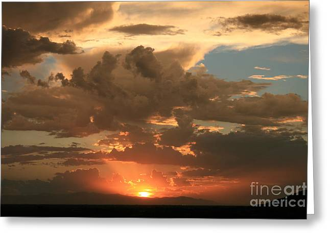 Cloudy Orange Sunset Greeting Card by Cassandra Lemon