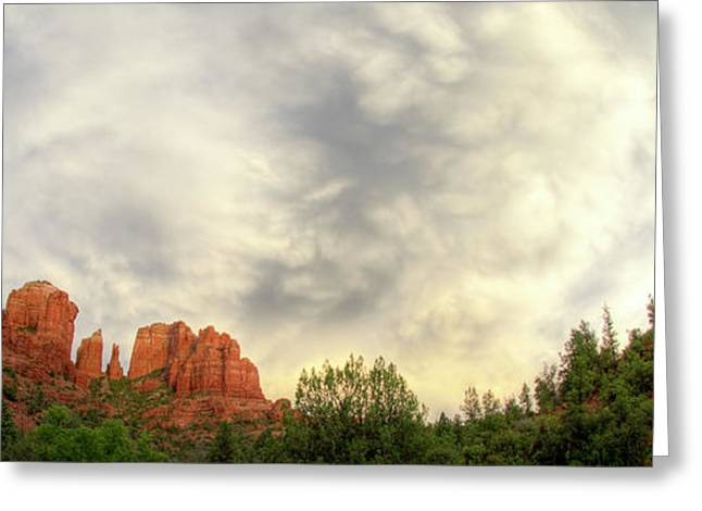 Cloudy Skies Over Cathedral Rock Greeting Card by David Sunfellow
