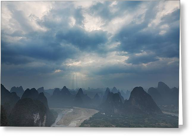 Cloudy Sunset In Guilin Guangxi China Greeting Card