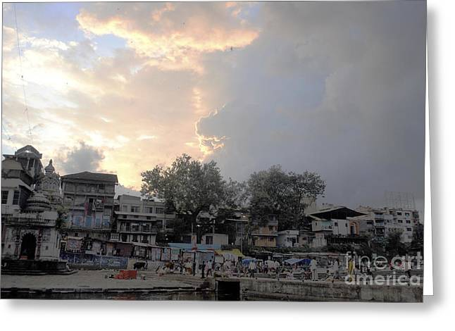 Cloudy Village Scene In India Greeting Card by Sumit Mehndiratta
