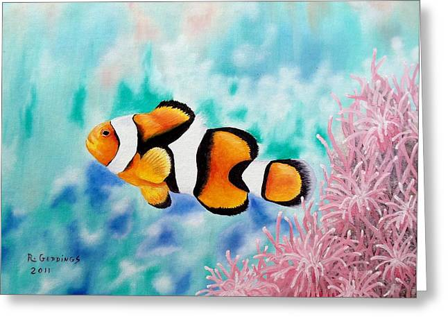 Clown Anemonefish Greeting Card by Riley Geddings