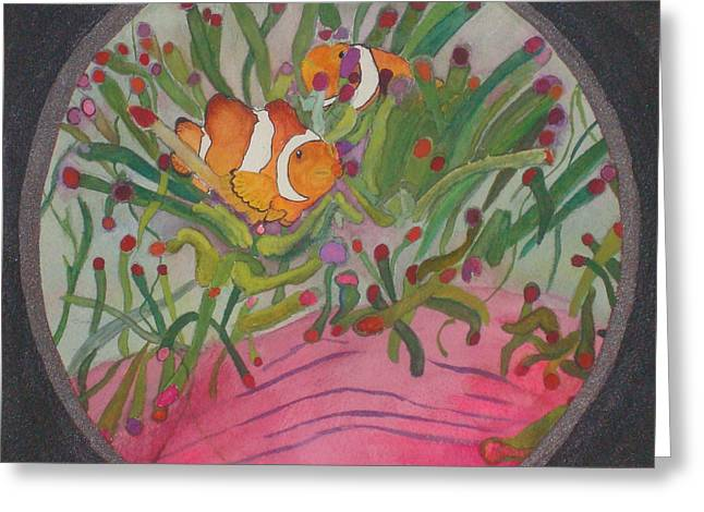 Greeting Card featuring the mixed media Clownfish Seen Through A Lense by Joy Braverman