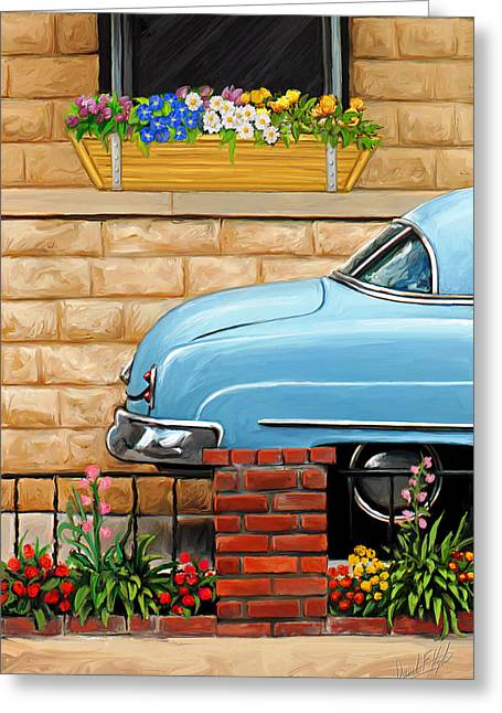 Clunker In The Garden Greeting Card by David Kyte