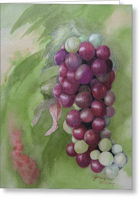 Cluster Of Grapes Greeting Card by JoAnne Hessong