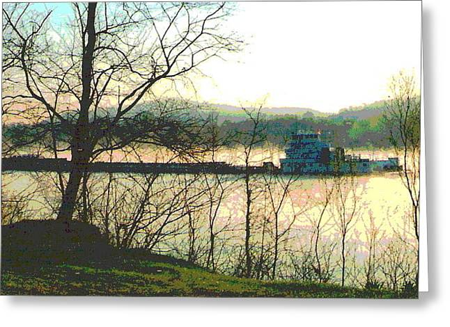Coal Barge In Ohio River Mist Greeting Card