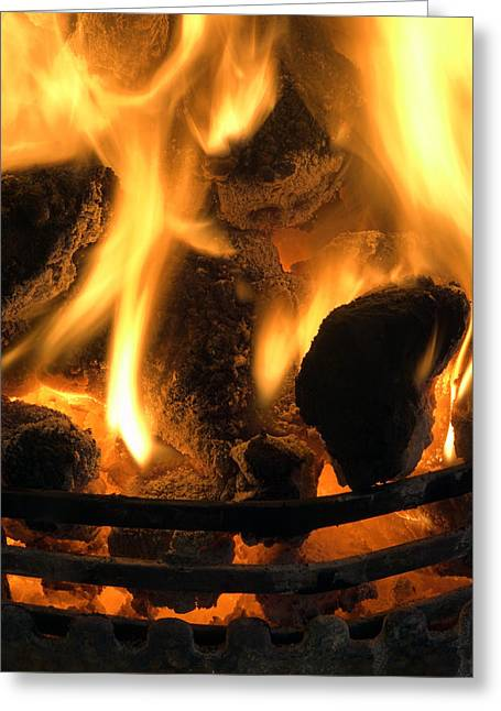 Coal Fire Greeting Card by Duncan Shaw