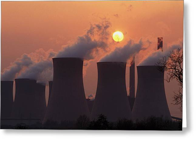 Coal-fired Power Station In Nottinghamshire Greeting Card by Chris Knapton