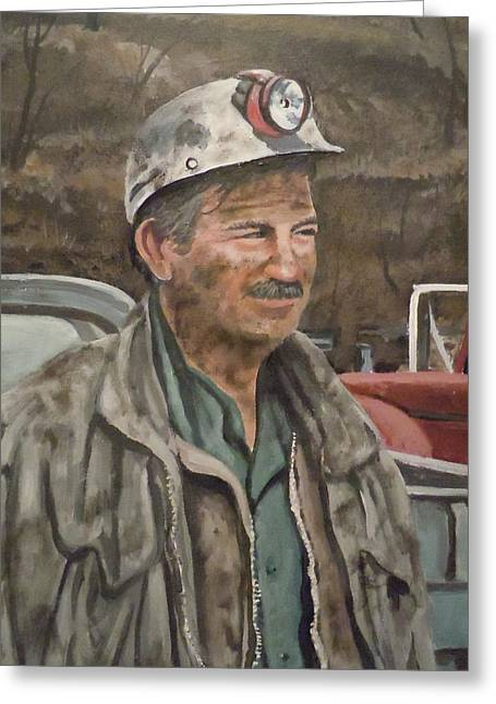 Greeting Card featuring the painting Coal Miner At Isabella Mine by James Guentner