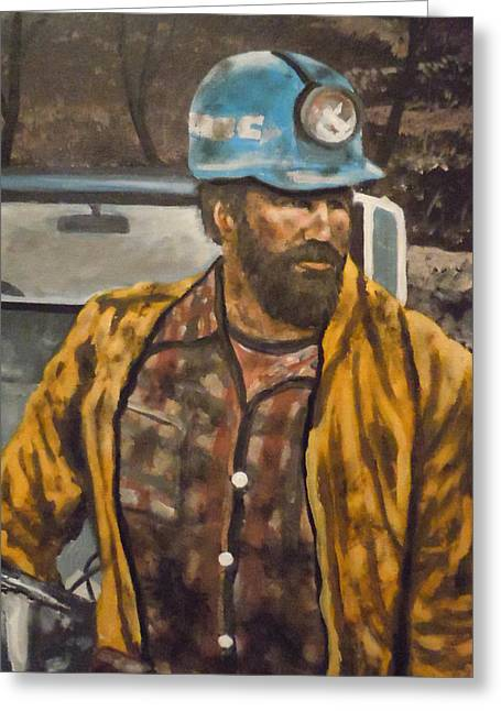 Greeting Card featuring the painting Coal Miner At Mariana Mine by James Guentner