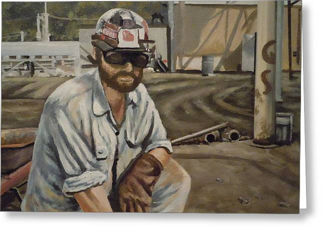 Greeting Card featuring the painting Coal Miner At Vestaburg Mine by James Guentner