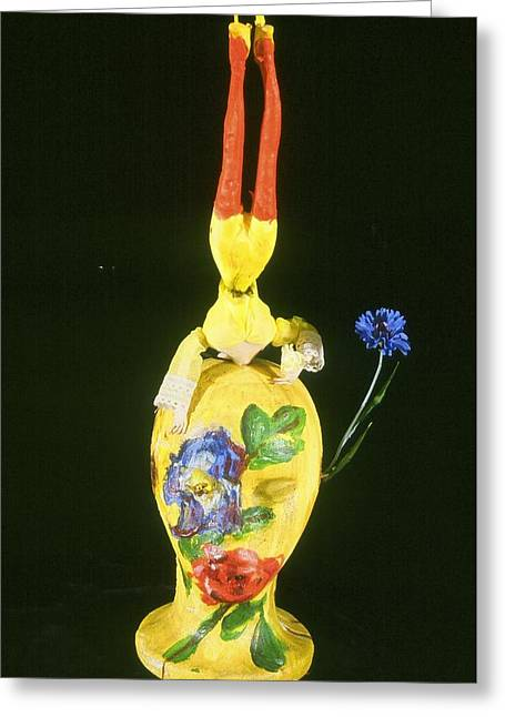 Coalescing Parts Greeting Card by Iris Gill