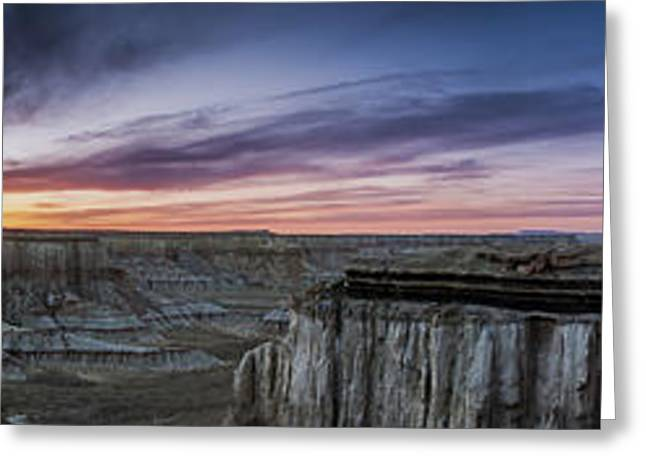 Coalmine Canyon Panoramic Sunset Greeting Card by Darcy Michaelchuk