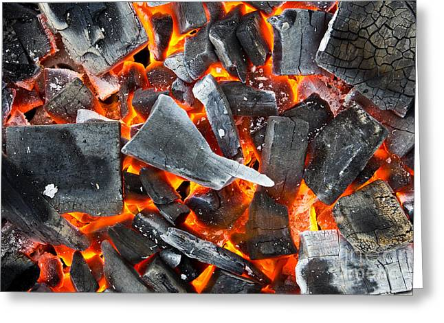 Coals In The Fire Greeting Card by Mongkol Chakritthakool