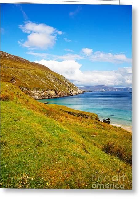 Coast At Keem Bay On Achill Island Greeting Card by Gabriela Insuratelu