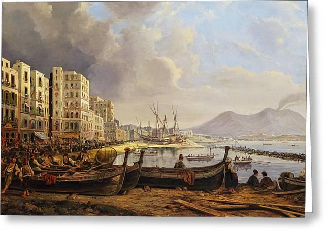 Coast In Naples Greeting Card by Pieter van Loon