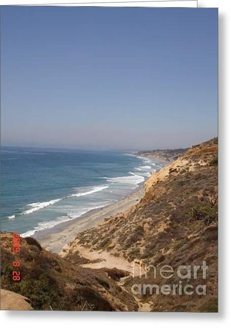 Coast Line San Diego Greeting Card by Carol Wright