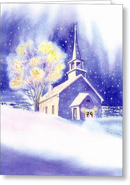 Coastal Church Christmas Greeting Card by Joseph Gallant