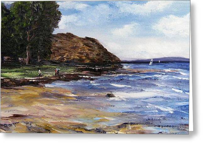 Greeting Card featuring the painting Coastel View by Renate Voigt