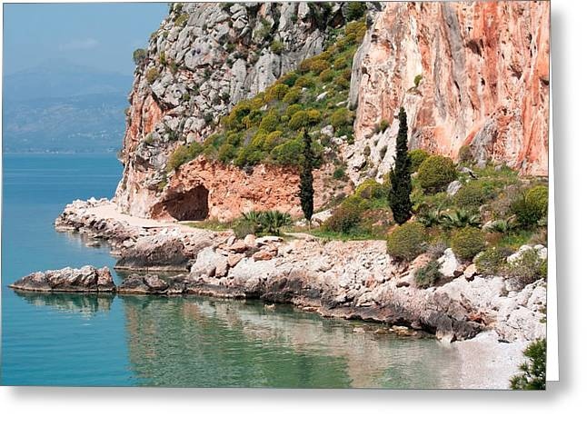 Coastline Of Greece Greeting Card by Shirley Mitchell