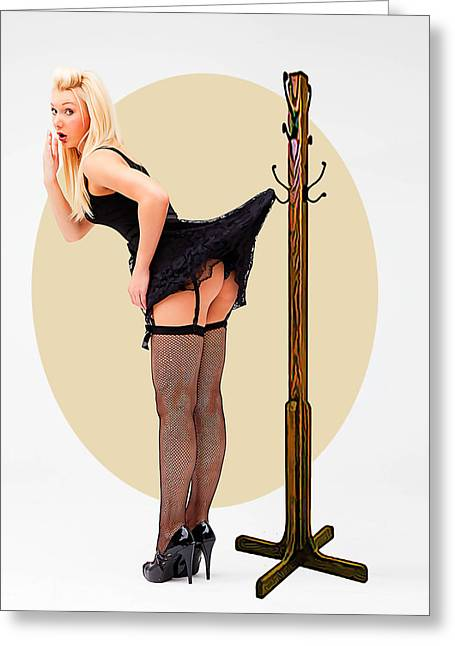 Coat Rack - Oops Greeting Card by Dean Farrell