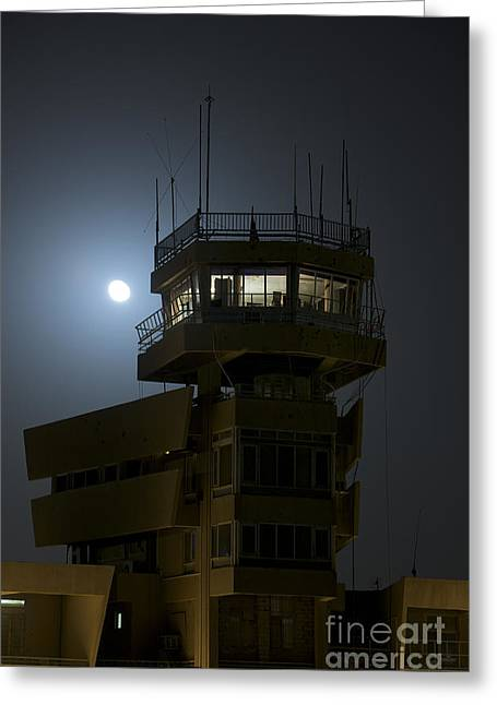 Cob Speicher Control Tower Under A Full Greeting Card by Terry Moore
