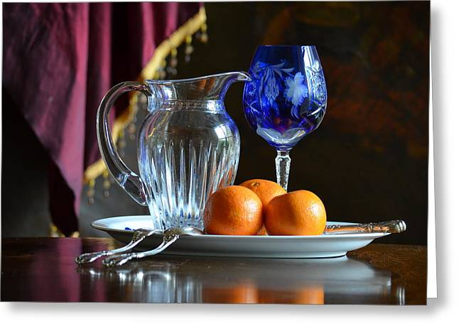 Cobalt And Orange Greeting Card by Patricia Caldwell