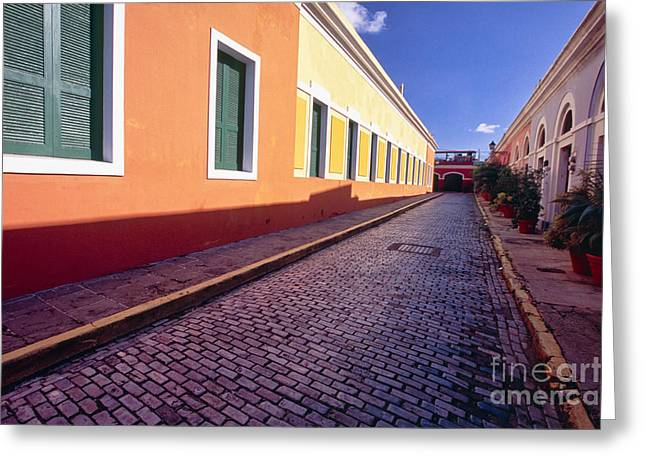 Cobblestone Reflections In Old San Juan Greeting Card