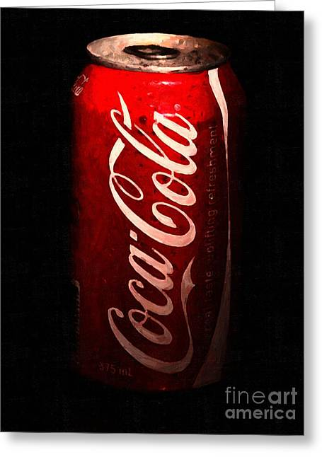 Coca Cola Coke Can . Painterly Greeting Card