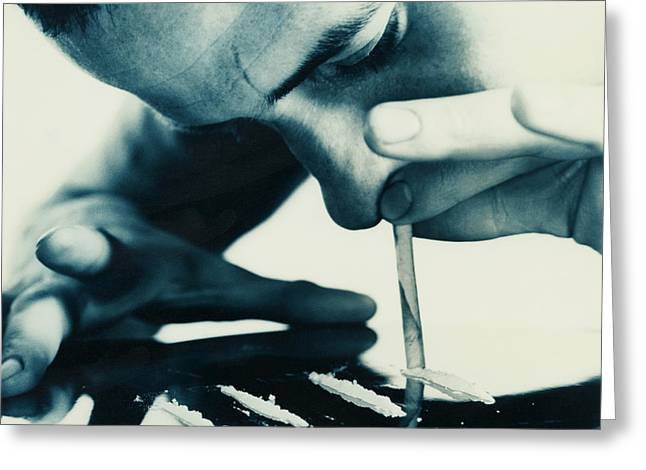 Cocaine Snorting Greeting Card by Cristina Pedrazzini