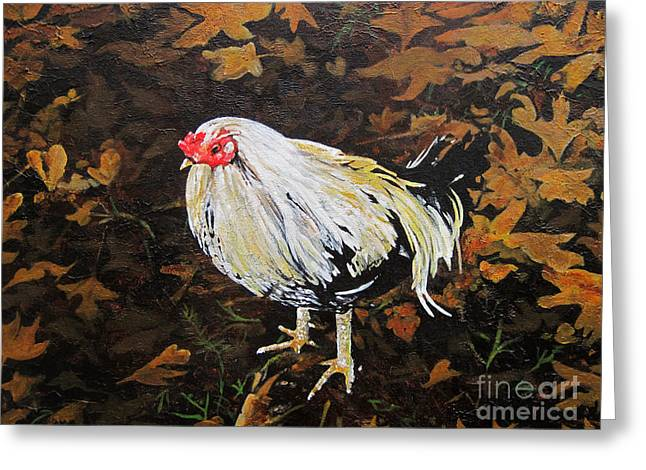 Cockerel Greeting Card by Carrie Jackson