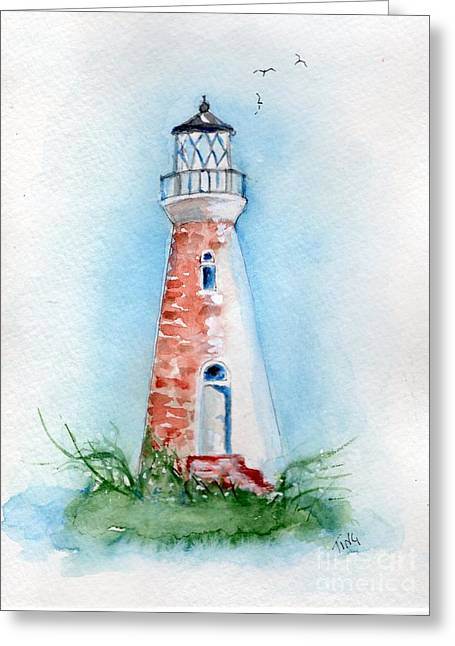 Greeting Card featuring the painting Cockspur Lighthouse 2 by Doris Blessington