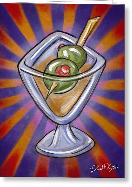 Cocktail With Olives  Greeting Card by David Kyte