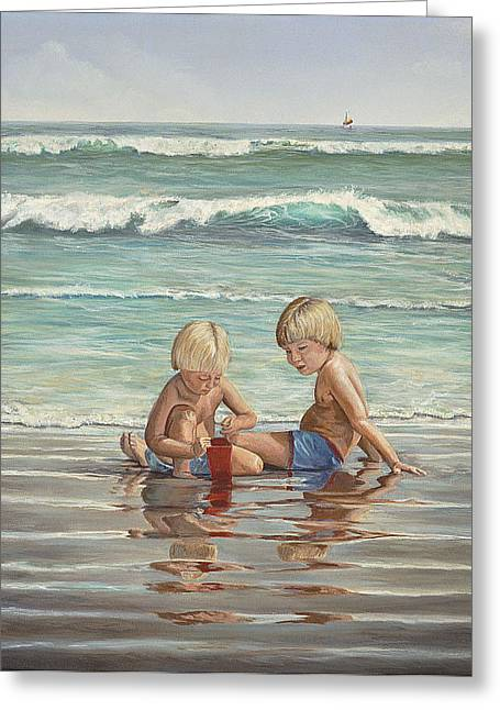 Greeting Card featuring the painting Cocoa Beach Sandcastles by AnnaJo Vahle