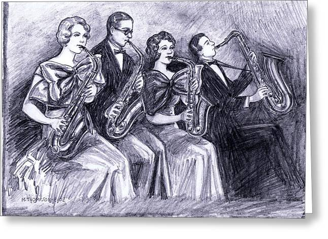 Coed Saxophones Greeting Card by Mel Thompson
