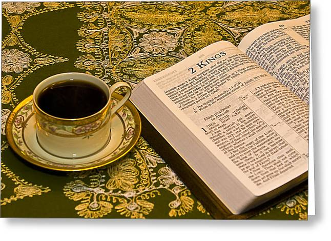 Coffee And Bible Greeting Card by Trudy Wilkerson