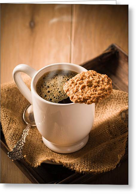 Coffee And Biscuit Greeting Card by Amanda Elwell