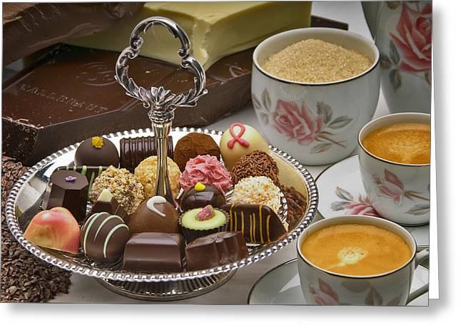 Coffee And Chocolates Greeting Card by Frank Lee